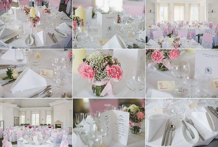 Stilvolle Tischdekoration einer Hochzeit im Golfclub Kosaido in Düsseldorf Collage aus 9 Bildern mit Blumen, Menükarten, Raum, Namenskärtchen