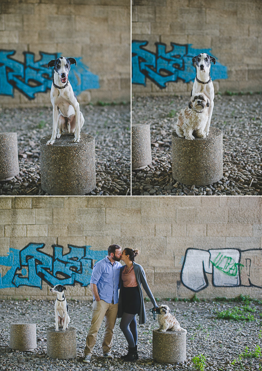 Pärchen mir Hunden vor Graffiti Wand