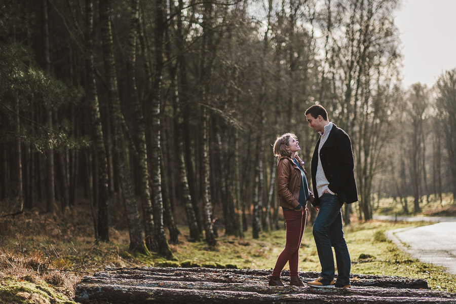 Paar im Wald auf gefällten bäumen