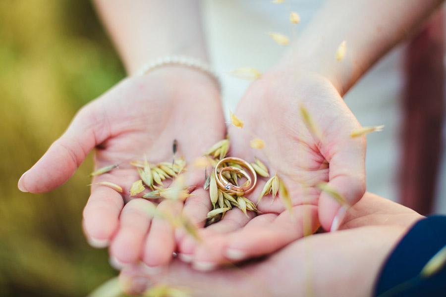 Ring auf Händen mit Getreide