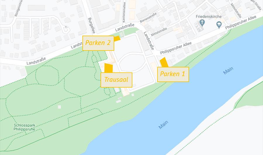 karte parken und trausaal schloss philippsruhe